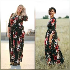 1b6a716819d1e7 Tara Lynn's Boutique Dresses - Olive Green Floral Maxi Dress- Tara Lynn  boutique.